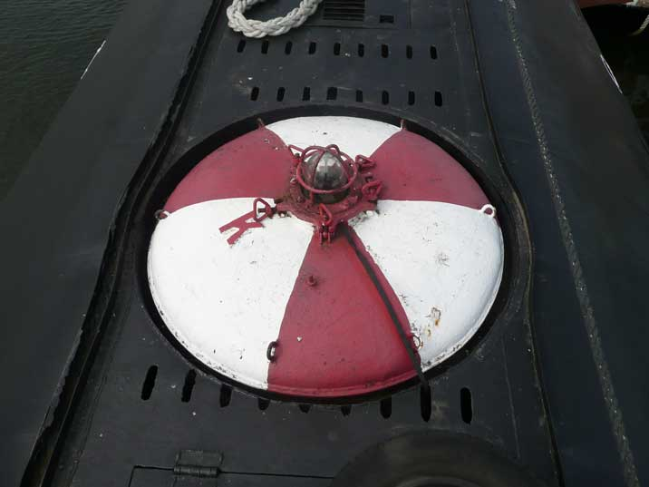 Escape hatch on the front of the hull of the B-80 submarine