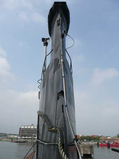 Back of the sail of the B-80 submarine in the Amsterdam harbour
