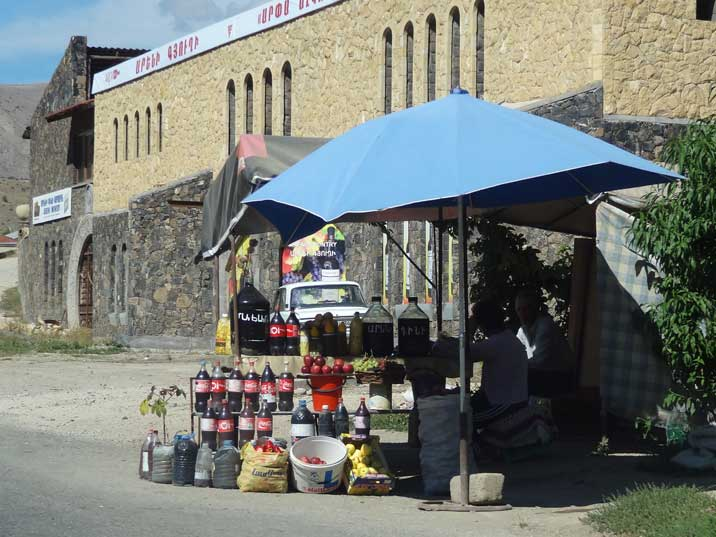 Cheap home made red wine is sold in Coca Cola bottles everywhere in the Areni region on the road to Yerevan