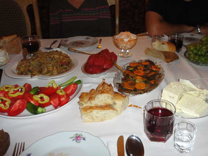 Dinner in the Odzun Guesthouse, all the delicious food and drinks are home made with home grown products
