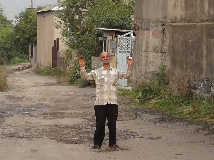 An Odzun local greeting us on the main street, we later had a very interesting conversation with this friendly man