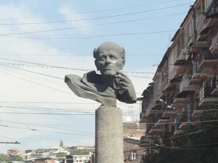 Andrei Sakharov statue in Yerevan, Sakharov was a nuclear physicist and the most famous Soviet dissident