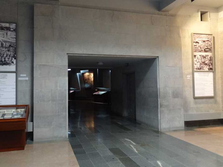 Entrance to the exhibition of the Armenian Genocide Museum where evidence is displayed supporting the genocide claim