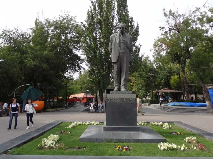 Statue of Armenian poet Avetik Isahakyan, president of the Writers Union of the Armenian SSR and Stalin Prize winner