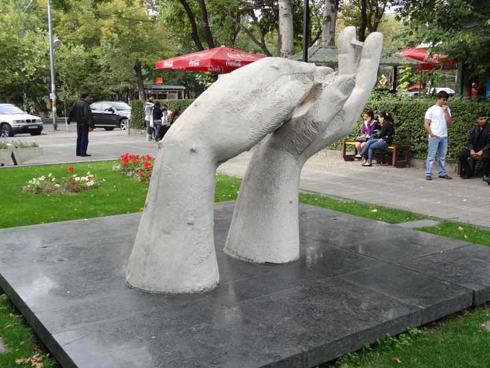A sculpture of a large pair of marble hands was a gift from Yerevan's twin city of Carrara in Tuscany in 1965