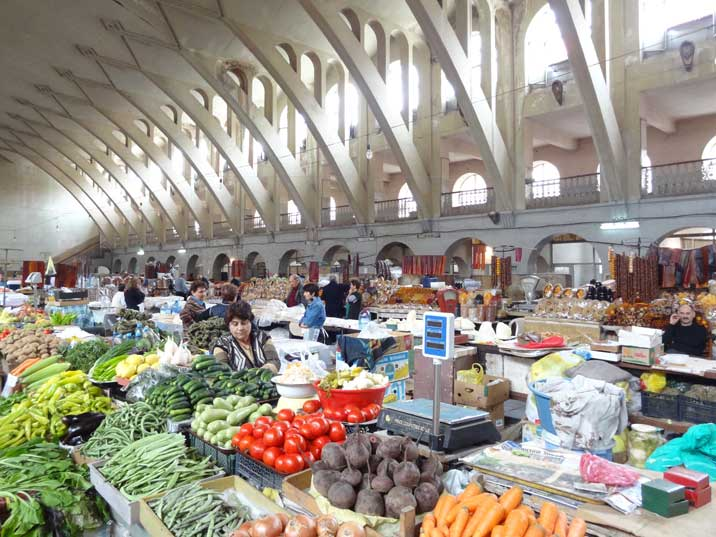 The Yerevan Central Market with fresh fruits and vegetables, dried fruits, tonir-baked lavash bread and local cheese