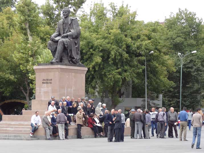 Statue for Armenian Hovhannes Tumanyan considered to be one of the greatest Armenian poets and writers