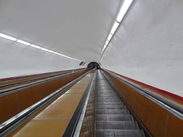 Escalator of the Marshal Baghramyan Metro Station that was build very deep like most other Soviet Metro stations