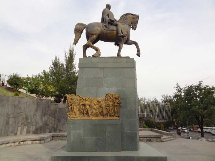 The monument to Soviet Marshal Baghramyan looks like a Soviet monument but was only constructed in 2001