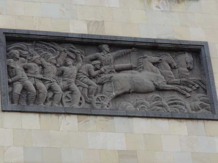 Soviet decoration on the Moscow Cinema building that could be destroyed in favour of a Church that the Soviets destroyed