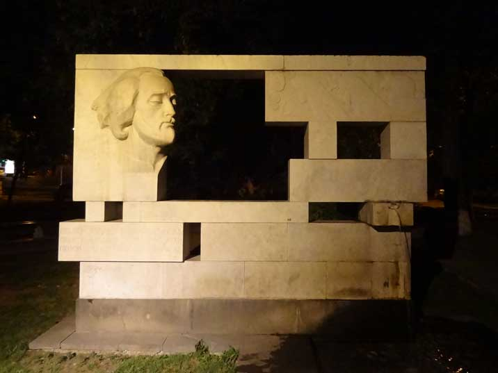 Monument from 1962 for the 18th century Armenian musician Sayat Nova in front of the Yerevan Music School