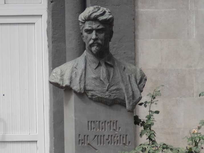 Bust of Armenian revolutionary Stepan Shahumyan on Mashtot Street in front of Stepan Shahumyan School No 1