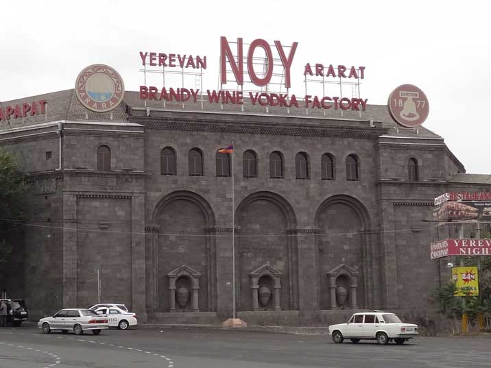 The Yerevan Ararat Brandy Wine and Vodka Factory from 1877 produces famous brandies including Noy and Araspel
