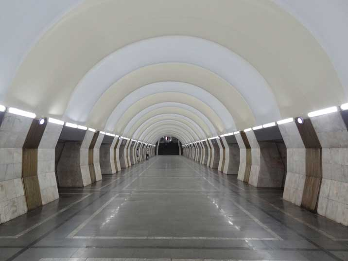 The interior of Yeritasardakan Metro Station is intricately decorated with national motifs like most former Soviet Metros