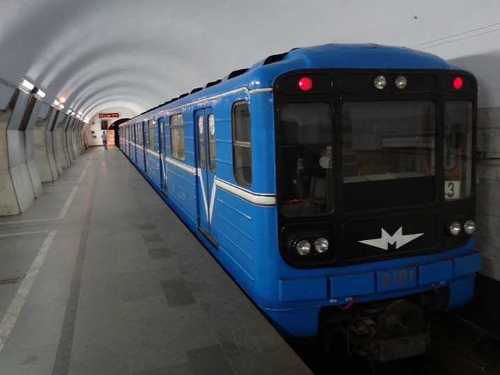 The Yerevan Metro uses the famous 81-717/714 cars produced from the 1970s and used in most Soviet metro systems