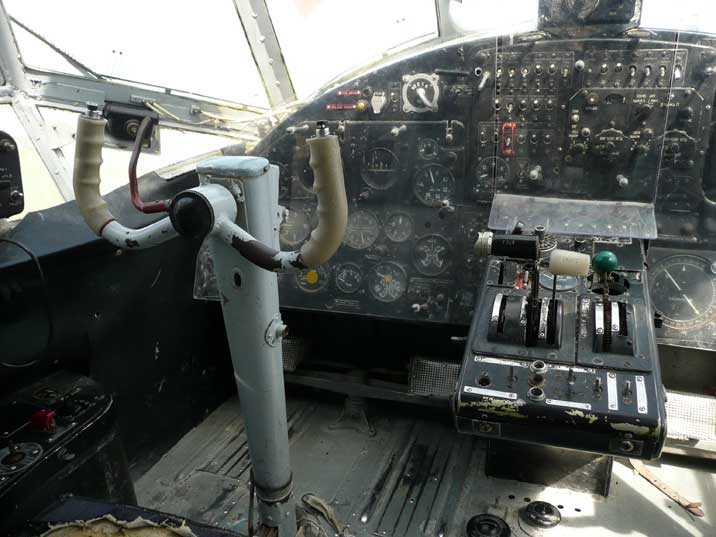 Steering wheel and instruments in the cockpit of the Antonov An-2