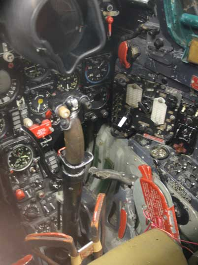 Inside the MiG-21 cockpit with instruments and control stick