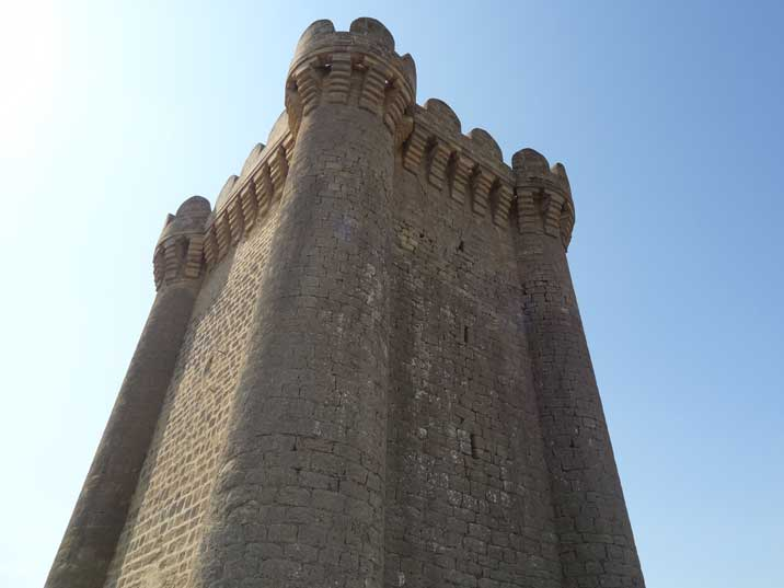 The square shaped tower of the Mardakan Castle on the Absheron Peninsula near Baku dating back to the year 1187