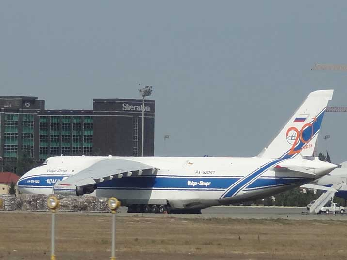 Antonov An-124-100 Ruslan RA-82047 from Volga Dnepr Airlines on the apron at Heydar Aliyev Airport in Baku