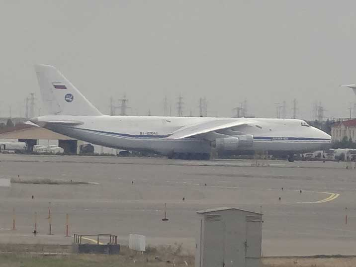A Russian Air force Antonov An-124-100 Ruslan seen on the apron at Heydar Aliyev Airport in Baku Azerbaijan