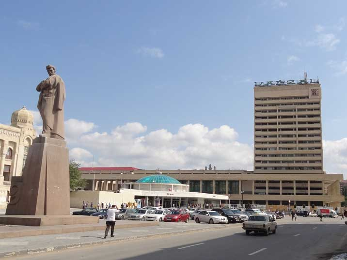 The Soviet era Central Railways Station with the 28 May Metro Station and Jafar Jabbarly monument in the foreground