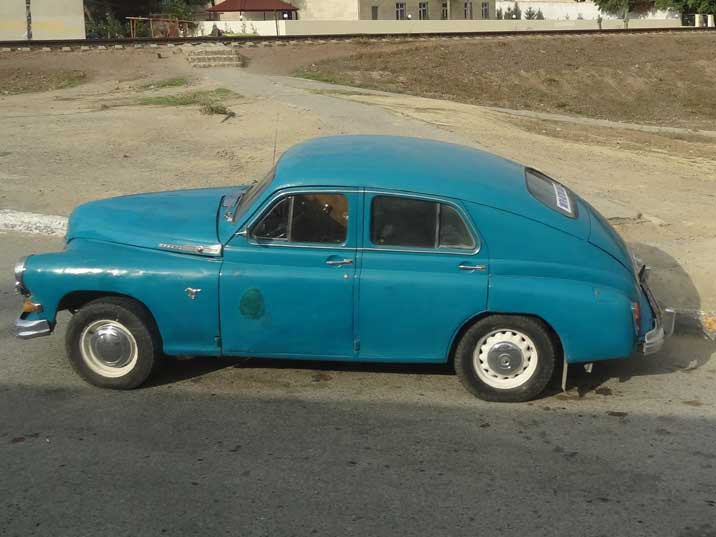 A GAZ-M20 Pobeda car that was designed during World War II and produced from 1946 until 1958 in the Soviet Union