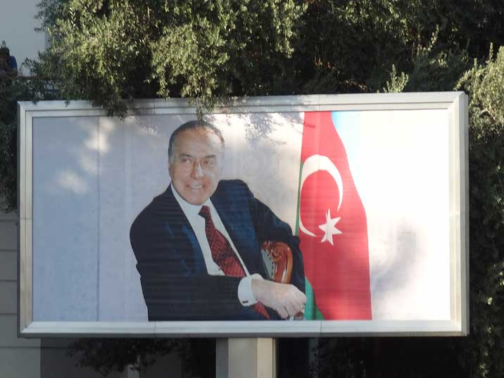 Billboards with former Azeri President Heydar Aliyev can be seen everywhere in the city centre of Baku