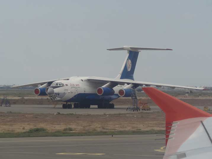 Silk Way Airlines Ilyushin Il 76TD Candid multi-purpose four-engined strategic airlifter seen on Baku International Airport