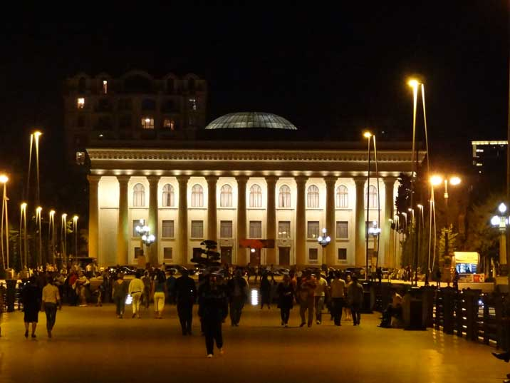 The former Lenin Museum seen from the Baku boulevard peer where many teenagers hang out in the evening