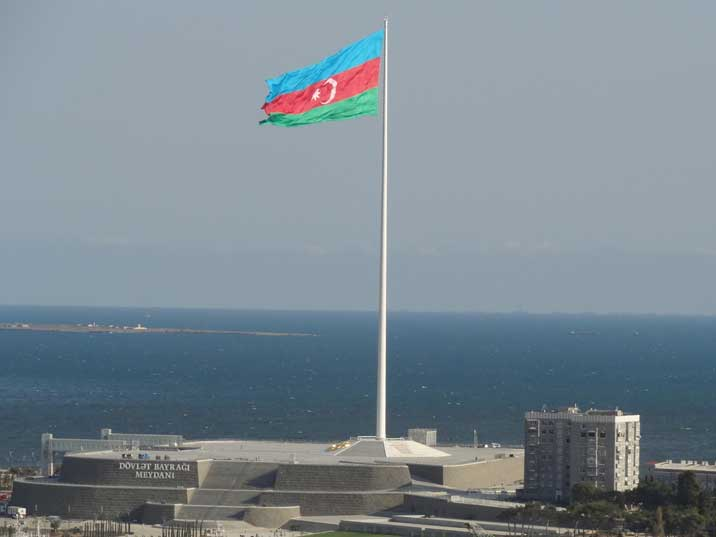 National Flag Square on the Baku sea front with a giant Azerbaijan flag that was once the biggest flag in the world