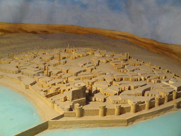 Marquette of the old town of Baku as it would have looked in the 12th century with the Maiden tower close to the Sea
