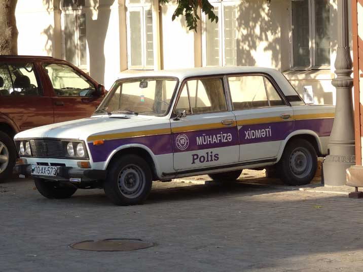 A Baku Police VAZ 2106 patrol car parked the old town of Baku, Lada was often used by the police during Soviet times