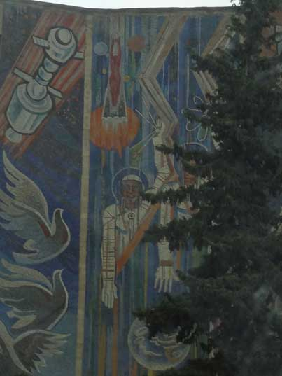 Soviet era street frescos with Cosmonauts and other space themed objects seen somewhere in Baku