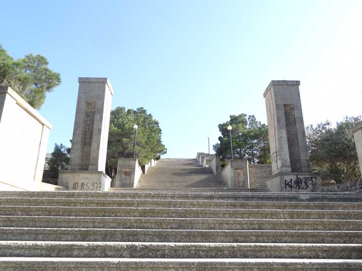 The stairs leading to the plateau where a giant Kirov statue stood from 1939 to 1992 have now fallen in despair