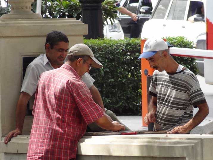Backgammon is a popular game in the Caucasus, man playing backgammon can be seen everywhere on the streets of Baku