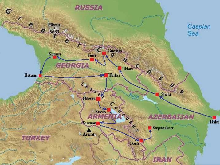 Our route trough the Caucasus, we started in Azerbaijan, then visited Georgia and Armenia to end in Nagorno-Karabakh