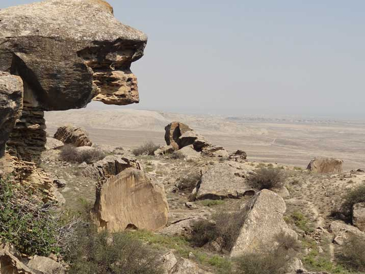 The beautiful rocky landscape of Gobustan National park with the desert in the back
