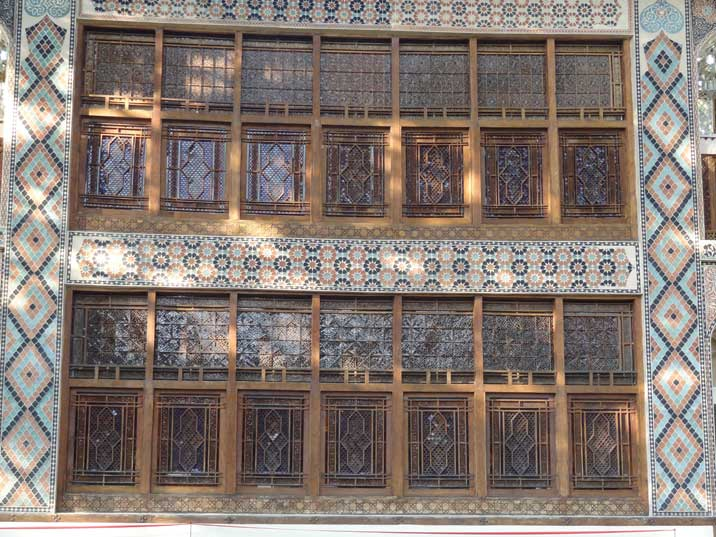 The colourful decorated wooden widow frames of Khans Palace are all piece together without nails or glue