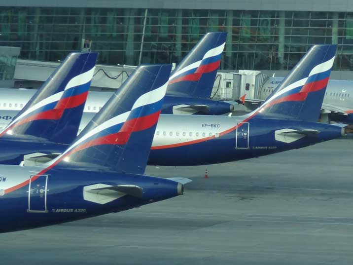 A large part of the Aeroflot Airbus fleet operates from Sheremetyevo International Airport in Moscow