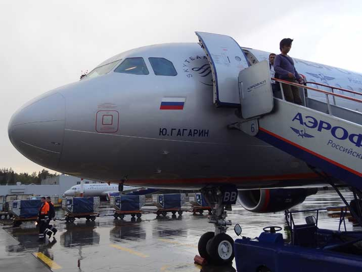 Aeroflot Airbus A319 named after Soviet hero Yuri Gagarin offloading its passengers on Sheremetyevo Airport