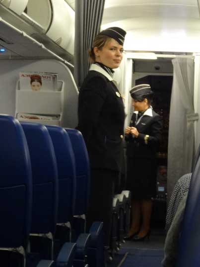 Aeroflot hostesses still wear the Hammer and Sickle on the uniform, lets hope Aeroflot will hang on to this policy