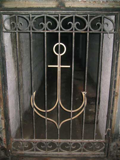 Gate decorated with an anchor leading in the submarine base