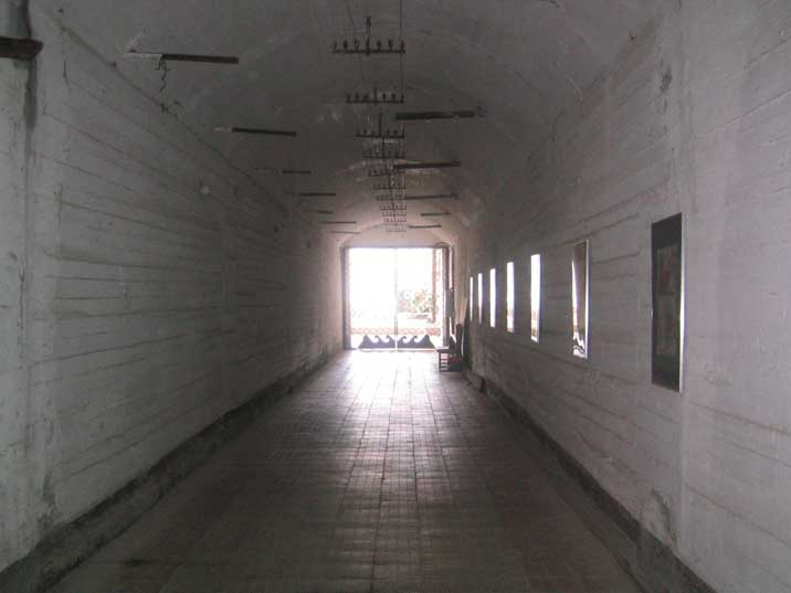 Concrete tunnel leading to the exit of the secret submarine base