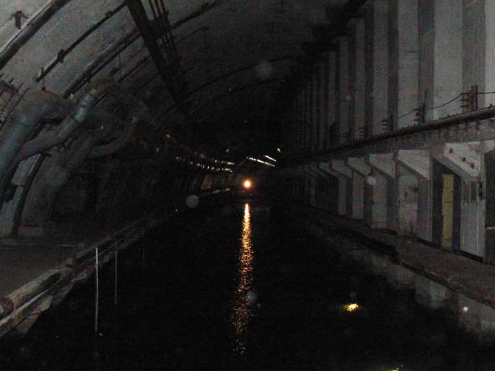 Submarine docking area inside the secret submarine base