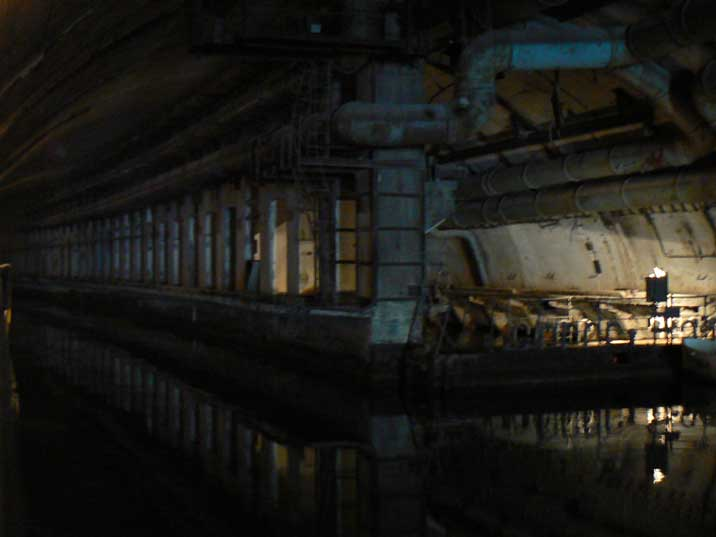 Dry-dock area where submarines can be serviced and repaired