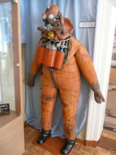 Post war suit of Soviet deep sea diver part of a submarine crew