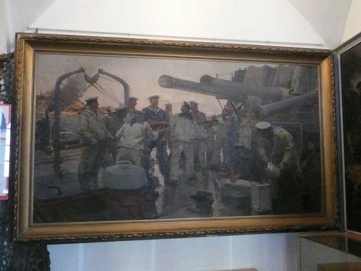Painting of Soviet sailors on cleaning the gun barrel of a warship