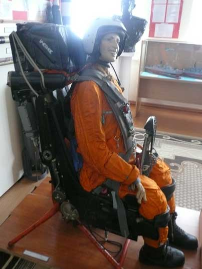 Soviet Jet pilot in an ejection seat at the aviation section