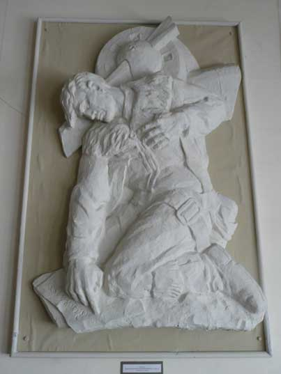 Relief of a dying heroic Soviet Army pilot with his airplane