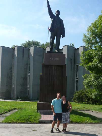 Lenin statue in the city centre of the naval town Baltiysk